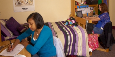Two female students study in a residence hall room at Penn State Berks