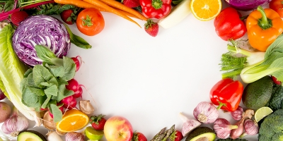 pile of vegetables making a heart shape in the space in the middle